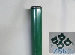 Round pillar with a set of fasteners green